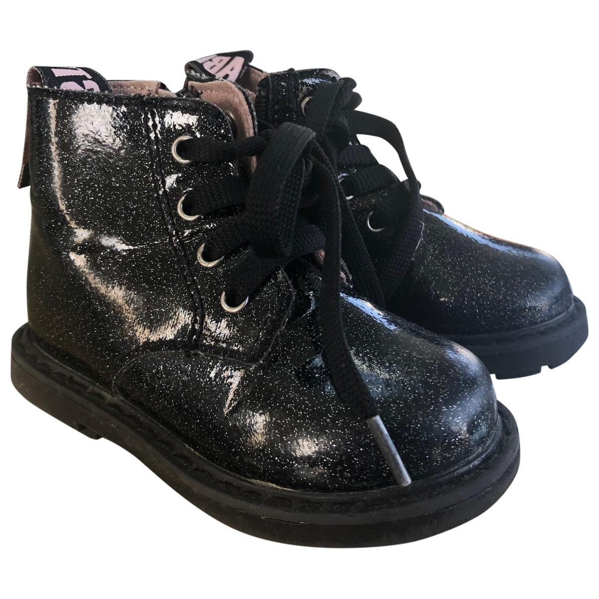 Zara - Bottes.Bottines   pour enfant en cuir verni - noir
