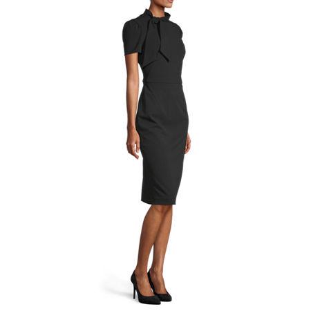Liz Claiborne Short Sleeve Midi Sheath Dress, 4 , Black