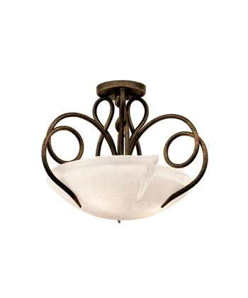 Tribecca 4288AC/ANTQ 3-Light Semi Flush Mount Ceiling Light in Antique Copper with Small Antique Filigree Side Glass