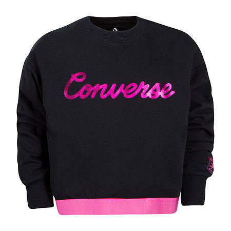 Converse Big Girls Crew Neck Long Sleeve Sweatshirt, X-large , Black