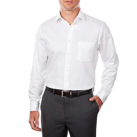 Van Heusen Lux Sateen Stretch Long Sleeve Dress Shirt, 16.5 32-33, White