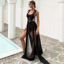 Backless Split Thigh Lace Bodice Chiffon Dress