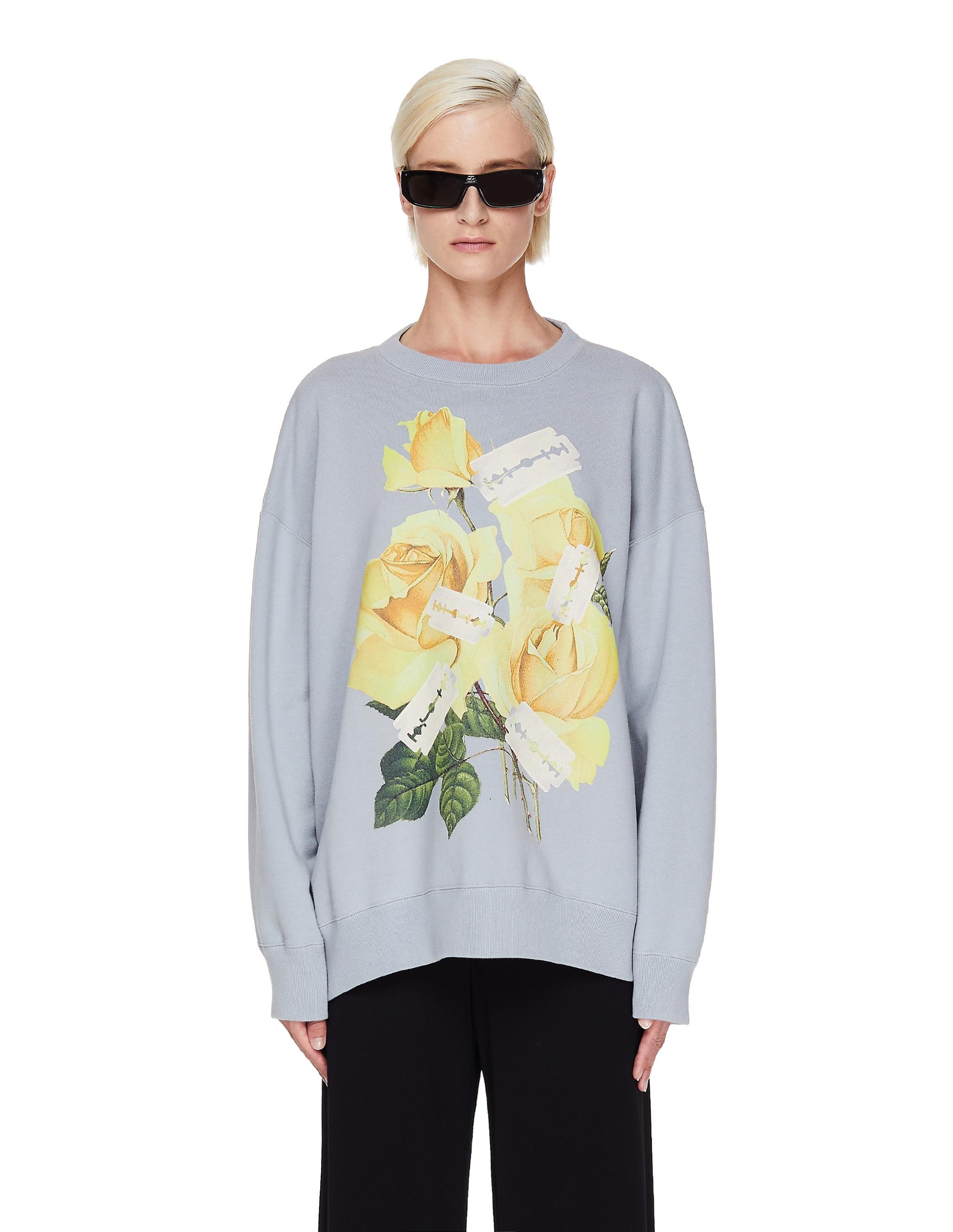 Undercover Grey Cotton Printed Sweatshirt