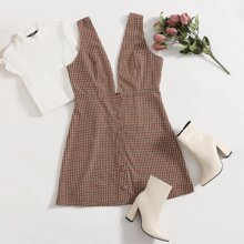 Plus Button Front Tweed Dress