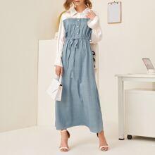 Geo Print Drawstring Shirt Dress