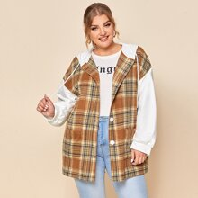 Plus Drop Shoulder Plaid Panel Button Placket Hooded Coat