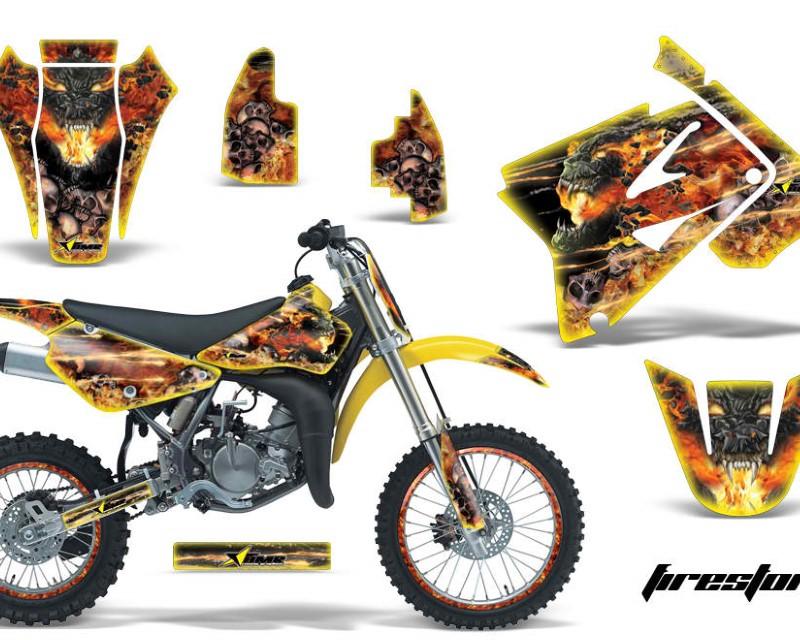 AMR Racing Graphics MX-NP-SUZ-RM85-02-16-FS Y Kit Decal Sticker Wrap + # Plates For Suzuki RM85 2002-2016?FIRESTORM YELLOW