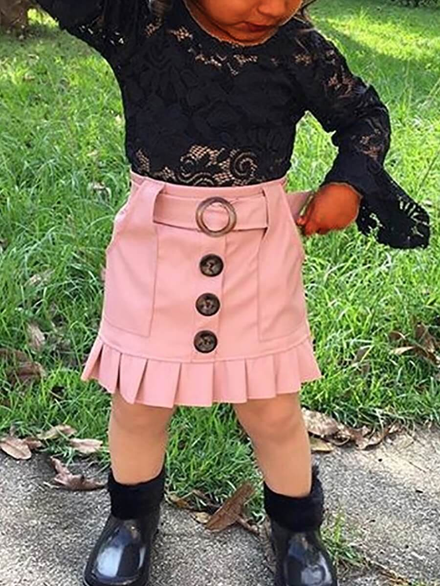 LW Lovely Trendy O Neck Lace Buttons Design Black Girl Two-piece Skirt Set