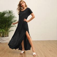 Batwing Sleeve Split Thigh Maxi Tee Dress