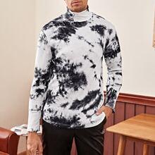 T-Shirt mit hohem Kragen und Batik