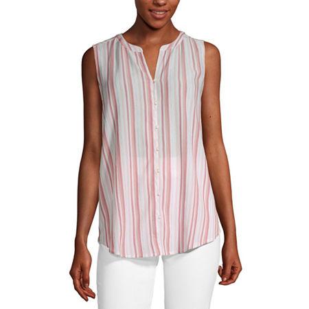 Liz Claiborne Womens Sleeveless Button-Down Shirt, Xx-large , Pink