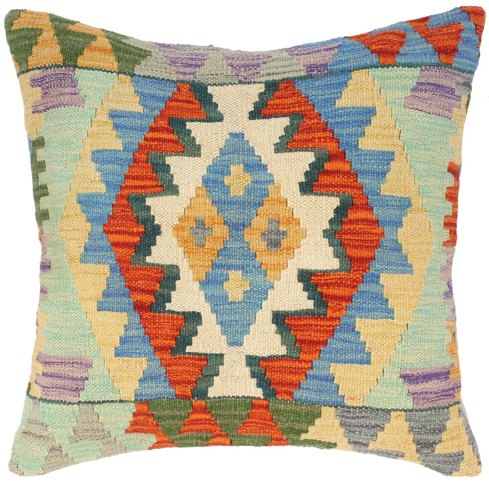 Shabby Chic Coralie Hand-Woven Turkish Kilim Pillow 18 in. x 18 in. (Accent - 18 in. x 18 in. - Polyester - Blue - Single)