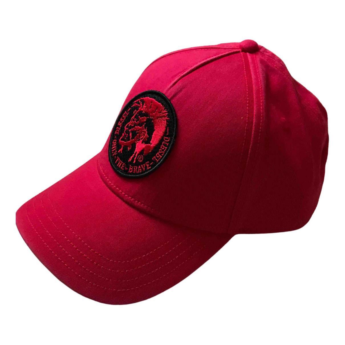 Diesel - Chapeau & Bonnets   pour homme en coton - rouge