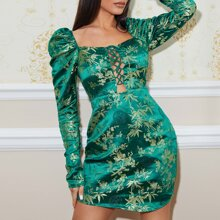 Leg-of-mutton Sleeve Lace Up Front Jacquard Dress