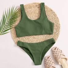 Texturierter Bikini Badeanzug