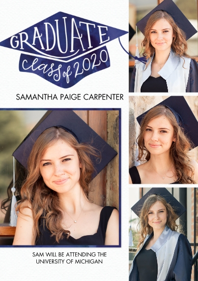 2020 Graduation Announcements 5x7 Cards, Premium Cardstock 120lb with Rounded Corners, Card & Stationery -Graduate Cap Class of 2020 by Tumbalina