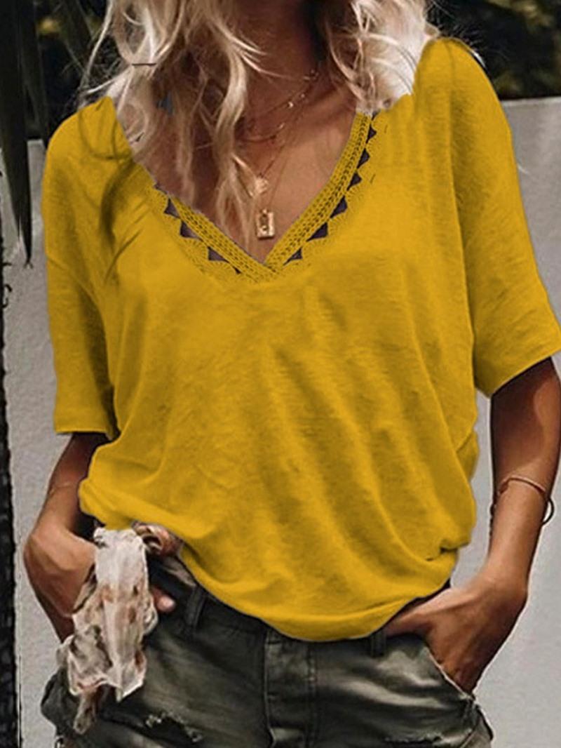 Ericdress Plain V-Neck Short Sleeve Fashion T-Shirt