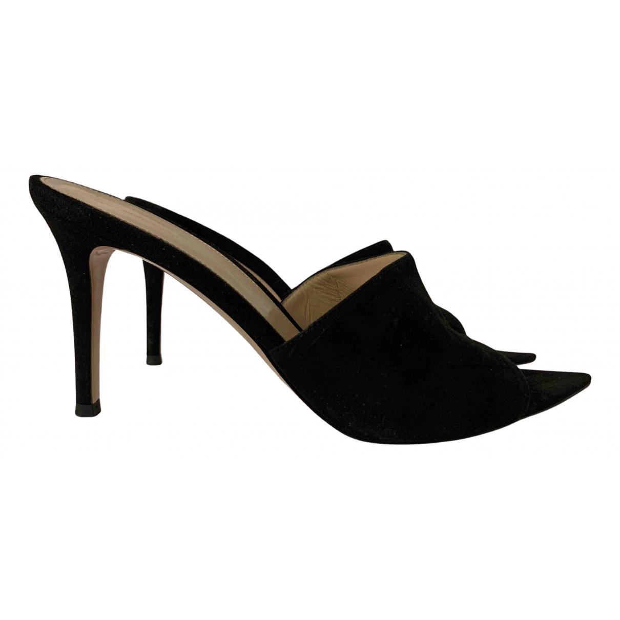 Gianvito Rossi N Black Suede Sandals for Women 38.5 EU