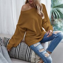 Solid Batwing Sleeve Boat Neck Sweater