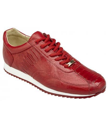 Men's Red Lace Up Genuine Ostrich Casual Leather Sneakers