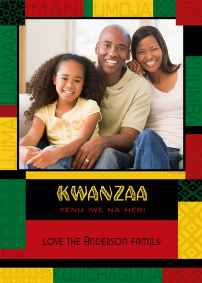 Kwanzaa Photo Cards 5x7 Cards, Premium Cardstock 120lb with Scalloped Corners, Card & Stationery -Colorful Kwanzaa