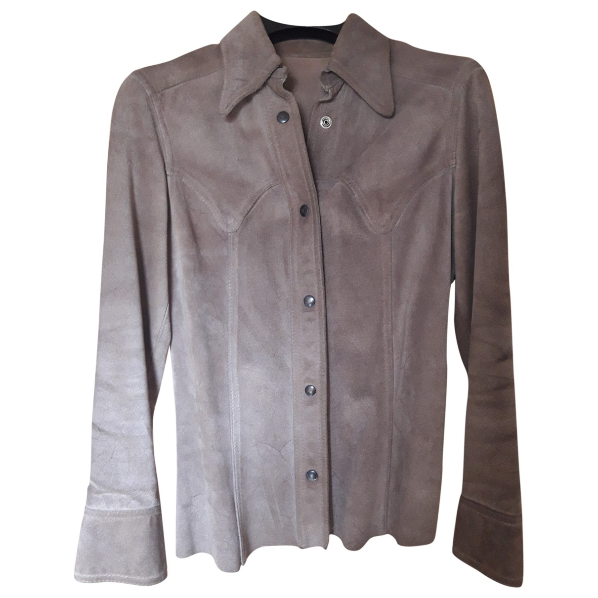 Non Signé / Unsigned Hippie Chic Camel Suede jacket for Women 38 FR