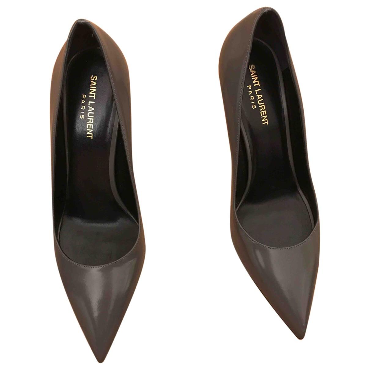 Saint Laurent \N Grey Leather Heels for Women 40 EU