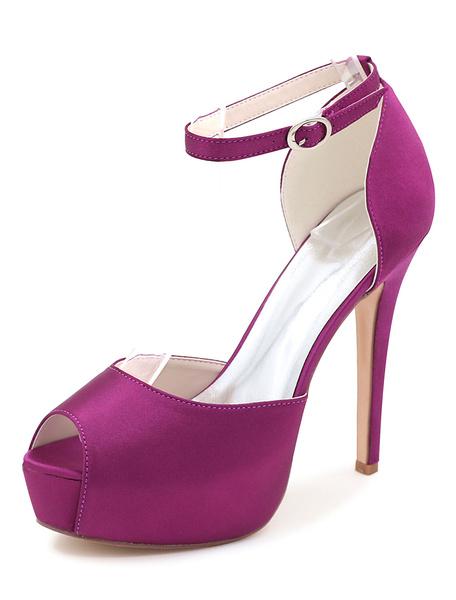 Milanoo Bluw Peep Toe Satin Wedding Shoes Ankle Strap Bridal Sandals