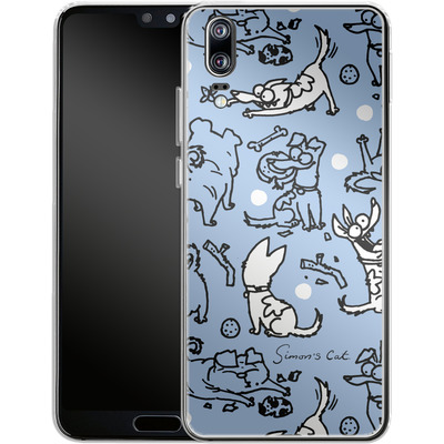 Huawei P20 Silikon Handyhuelle - Happy Dogs Pattern von Simons Cat