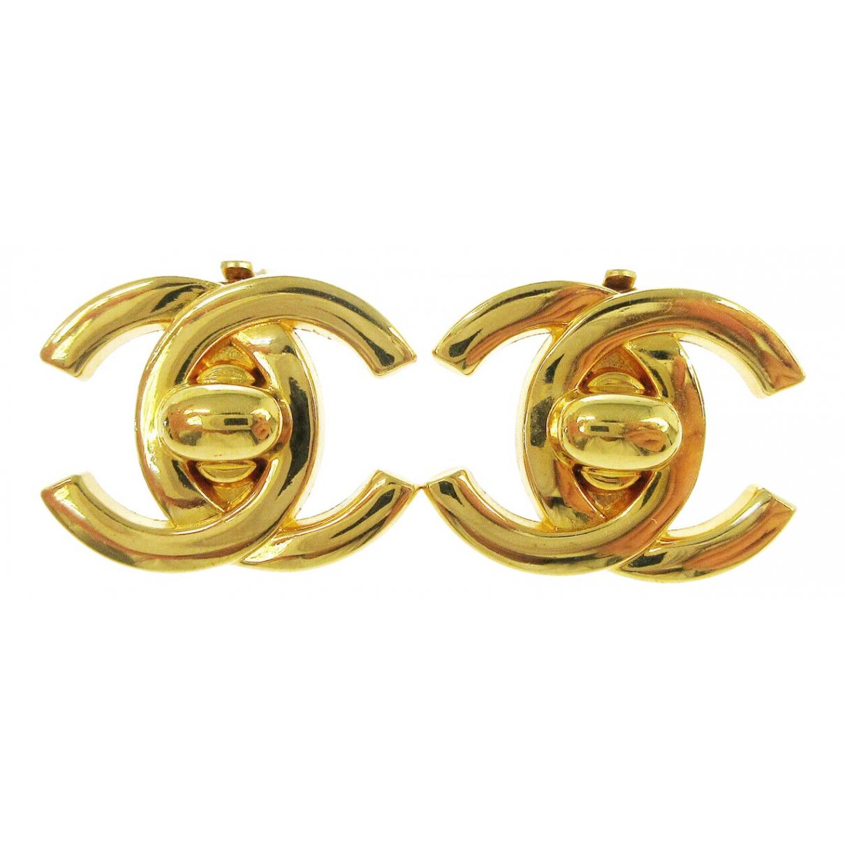 Chanel CC Yellow Metal Earrings for Women \N