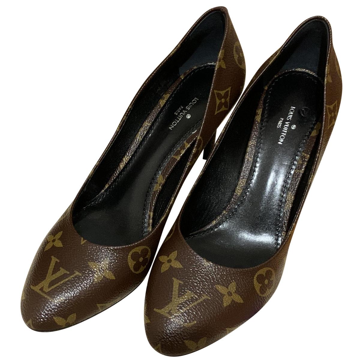 Louis Vuitton Cherie Brown Cloth Heels for Women 38 EU