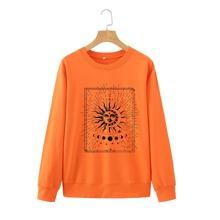 Sweatshirt mit Mond, Sonne Muster und rundem Kragen