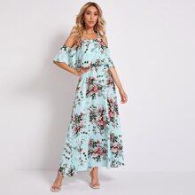 Schulterfreies Kleid mit Falten vorn und Blumen Muster