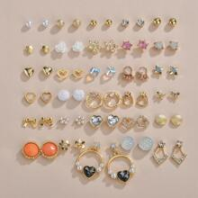 30 Paare Maedchen Ohrringe mit Kunstperlen Dekor