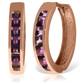 14K Solid Gold Hoop Huggie Gemstone Earrings w/ Natural Amethysts (Rose)