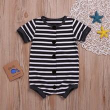Baby Boy Striped Button Front Tee Bodysuit