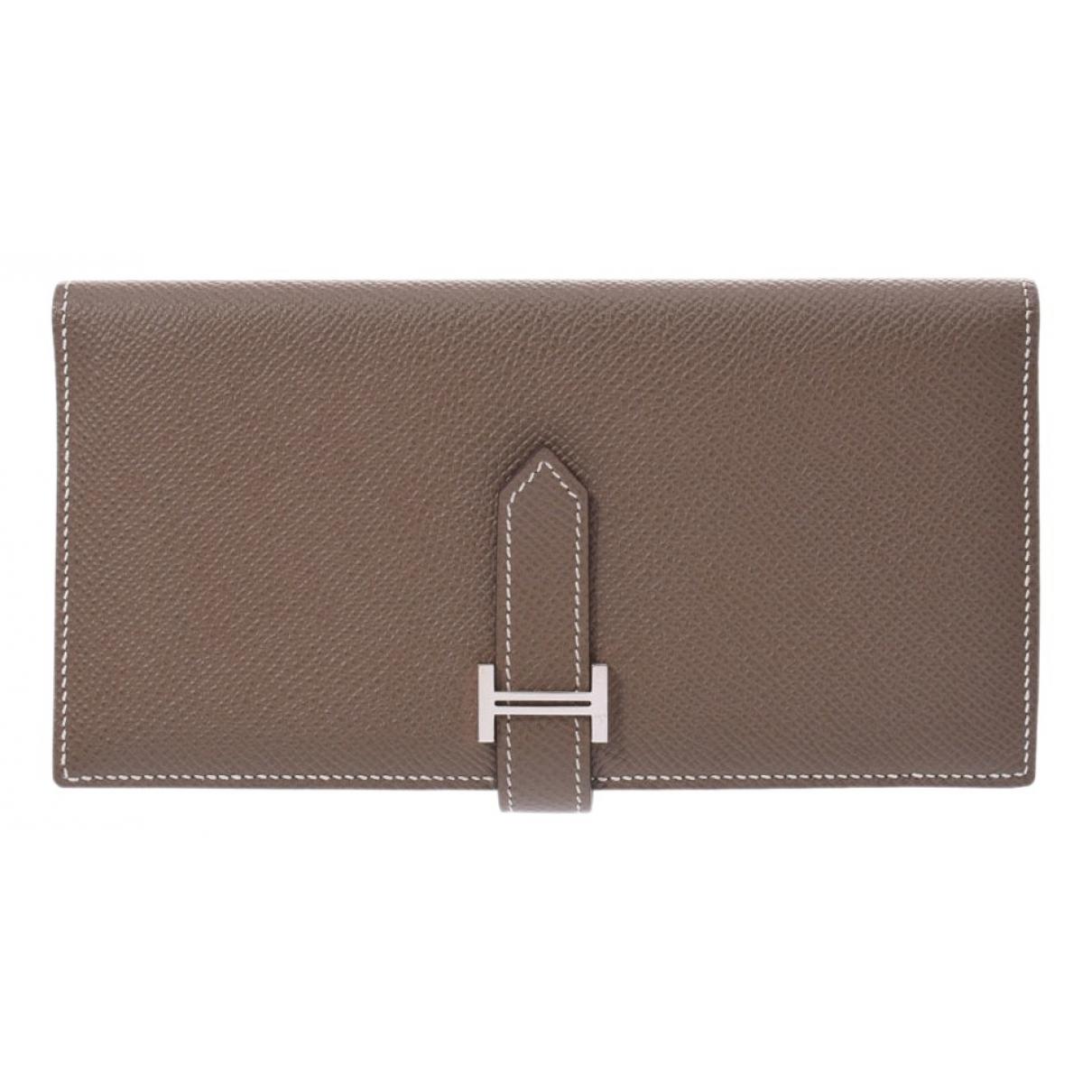 Hermes - Portefeuille   pour femme en cuir - gris
