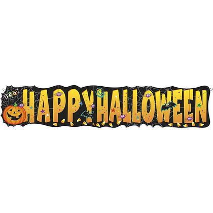 Balles de citrouille de 4,5 pieds bannière halloween lettre halloween heureux, noir et orange