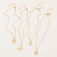 4pcs Girls Hollow Out Floral & Butterfly Charm Necklace