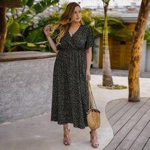 A-Linie Kleid mit Muster und V Ausschnitt vorn