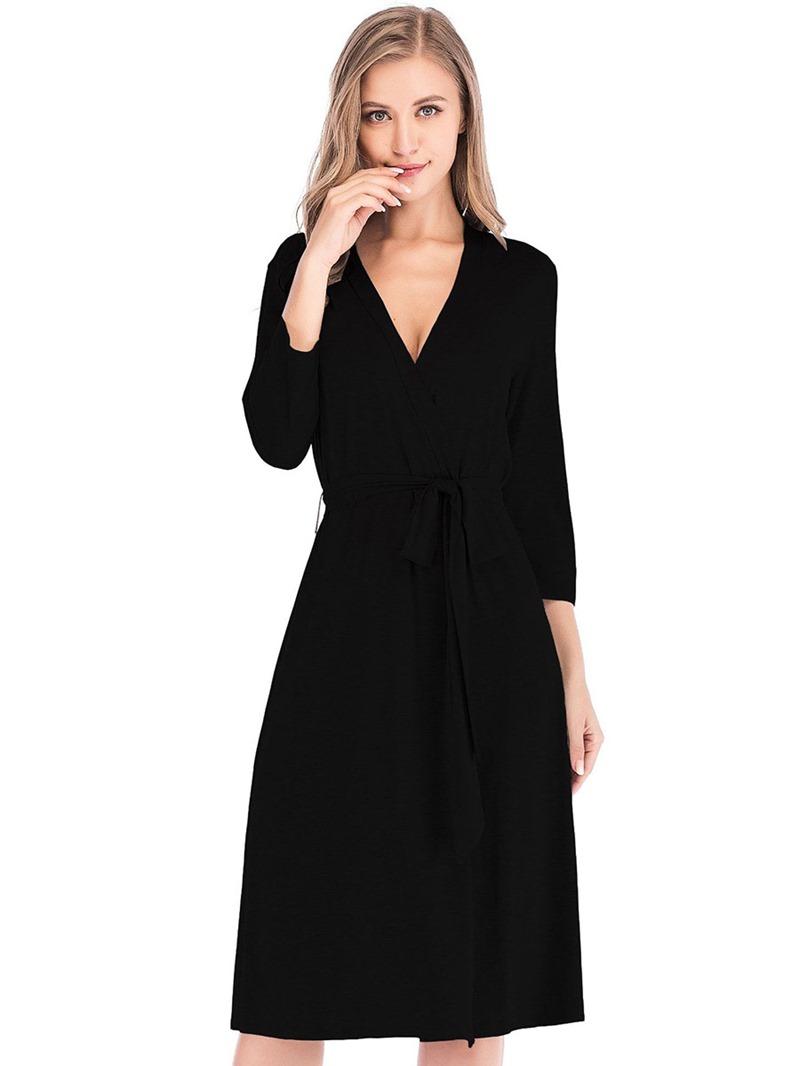 Ericdress Single Plain Lace-Up Regular Sexy Night-Robes