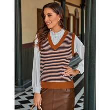Pullover Weste mit V-Kragen und Streifen