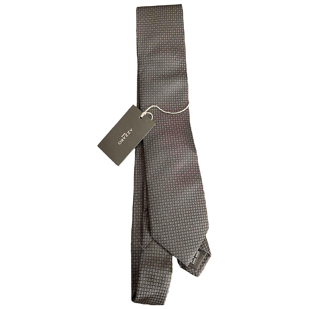 Azzaro - Cravates   pour homme en soie - gris