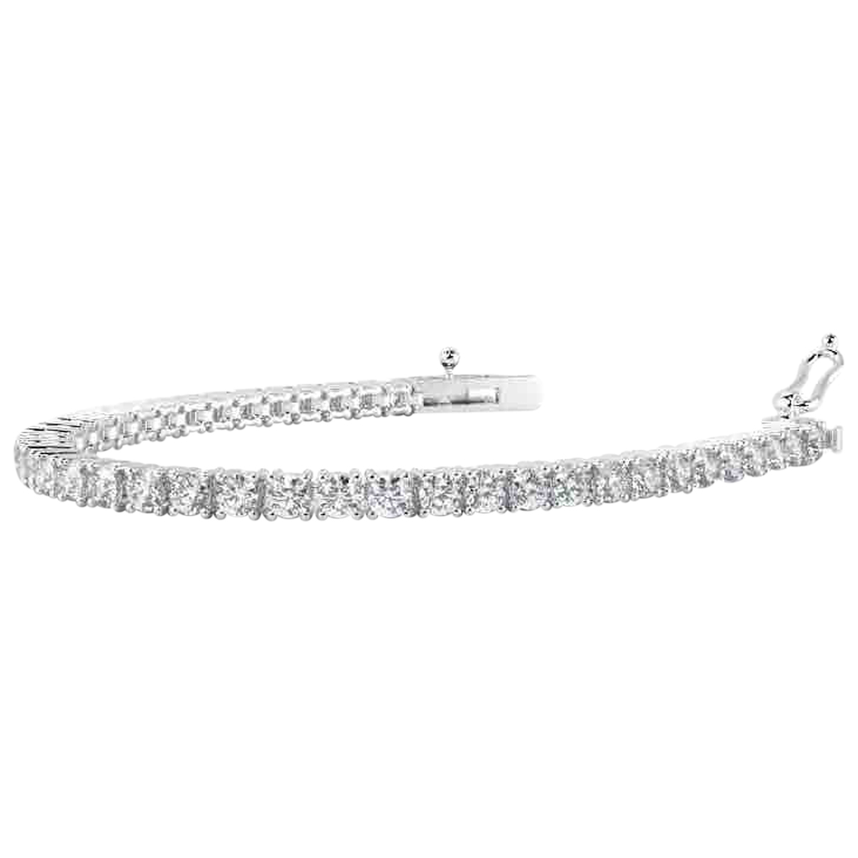 Non Signé / Unsigned Tennis Silver White gold bracelet for Women N
