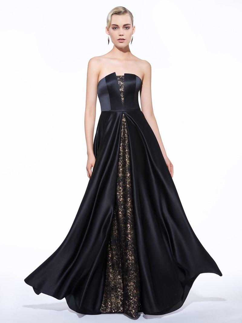 Ericdress A-Line Strapless Lace Sequins Long Evening Dress