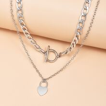 2pcs Heart Charm Necklace