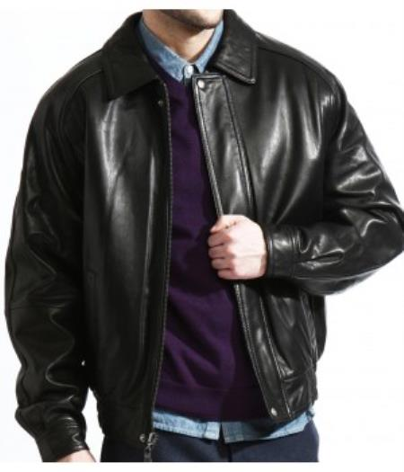 The Classic Baseball Leather Bomber Jacket In A Soft Lambskin Black