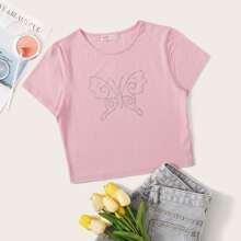 Rhinestone Butterfly Pink Tee