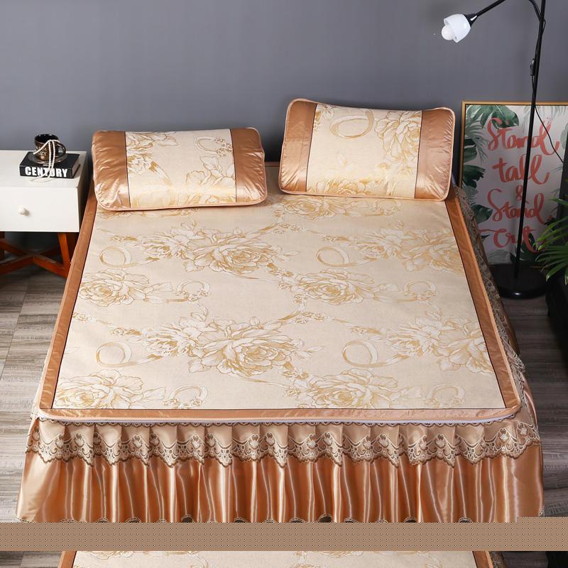 Jacquard Summer Sleeping Mat Set 3-Piece Cool Bed Skirts Set with 2 Pillowcases