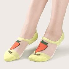 Carrot Pattern Glitter Mesh Socks